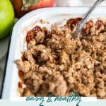 spoon in apple crisp dish for pinterest graphic