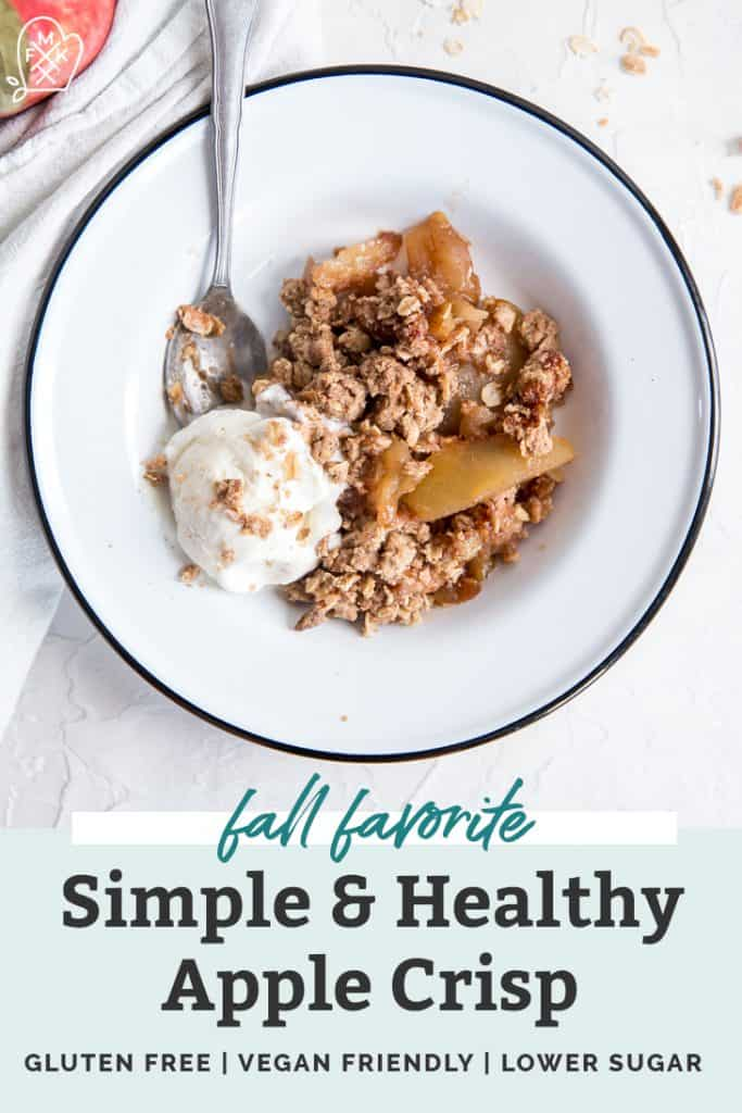 apple crisp in white bowl with ice cream pinterest