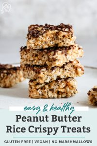 stacked peanut butter rice crispy treats with chocolate drizzle pinterest