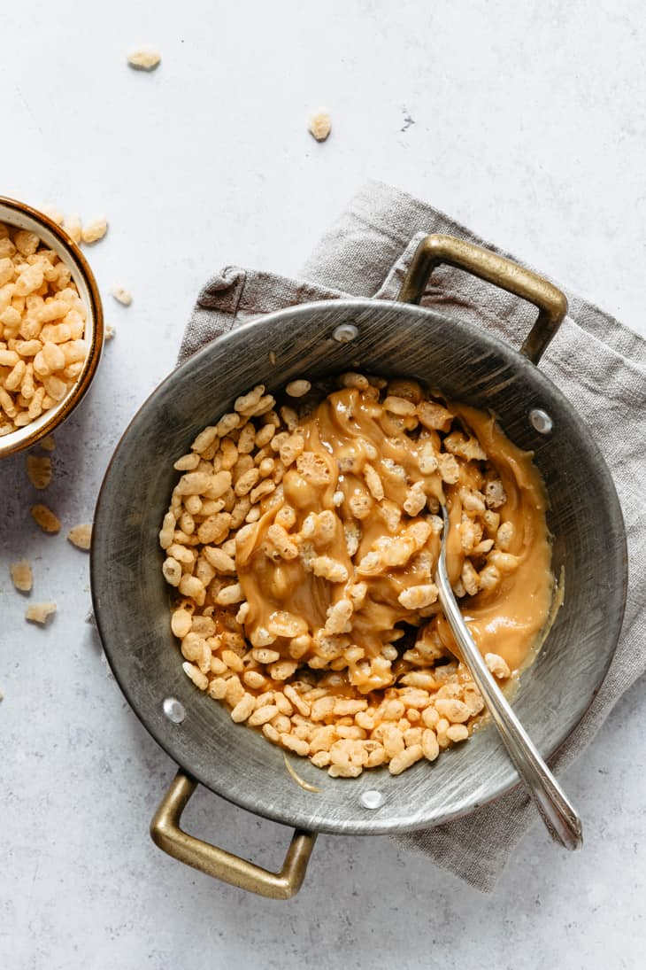 peanut butter and rice crispy cereal in bowl