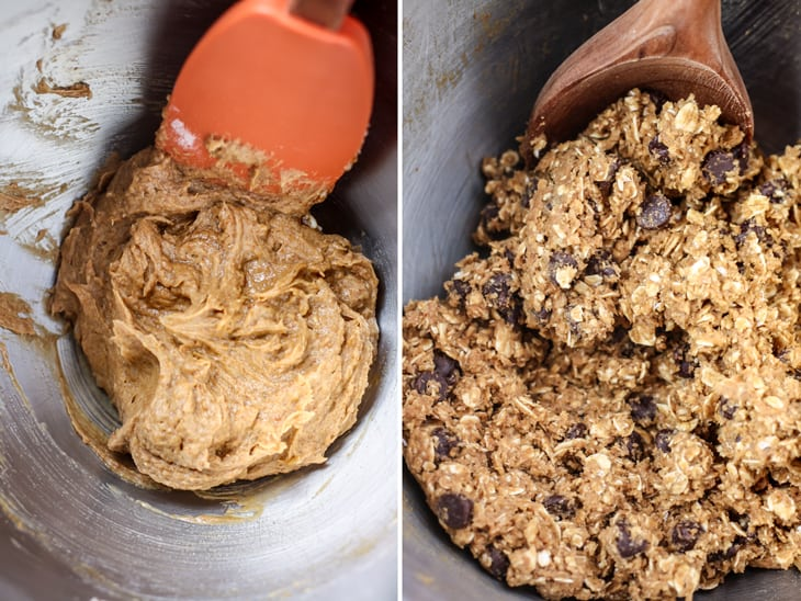 cookie dough in mixing bowl