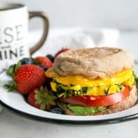 english muffin on plate with cheese, tomato and fruit