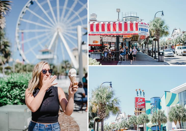 eating ice cream in front of Skywheel at Myrtle Beach