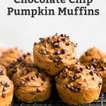 stacked pumpkin muffins with chocolate chips