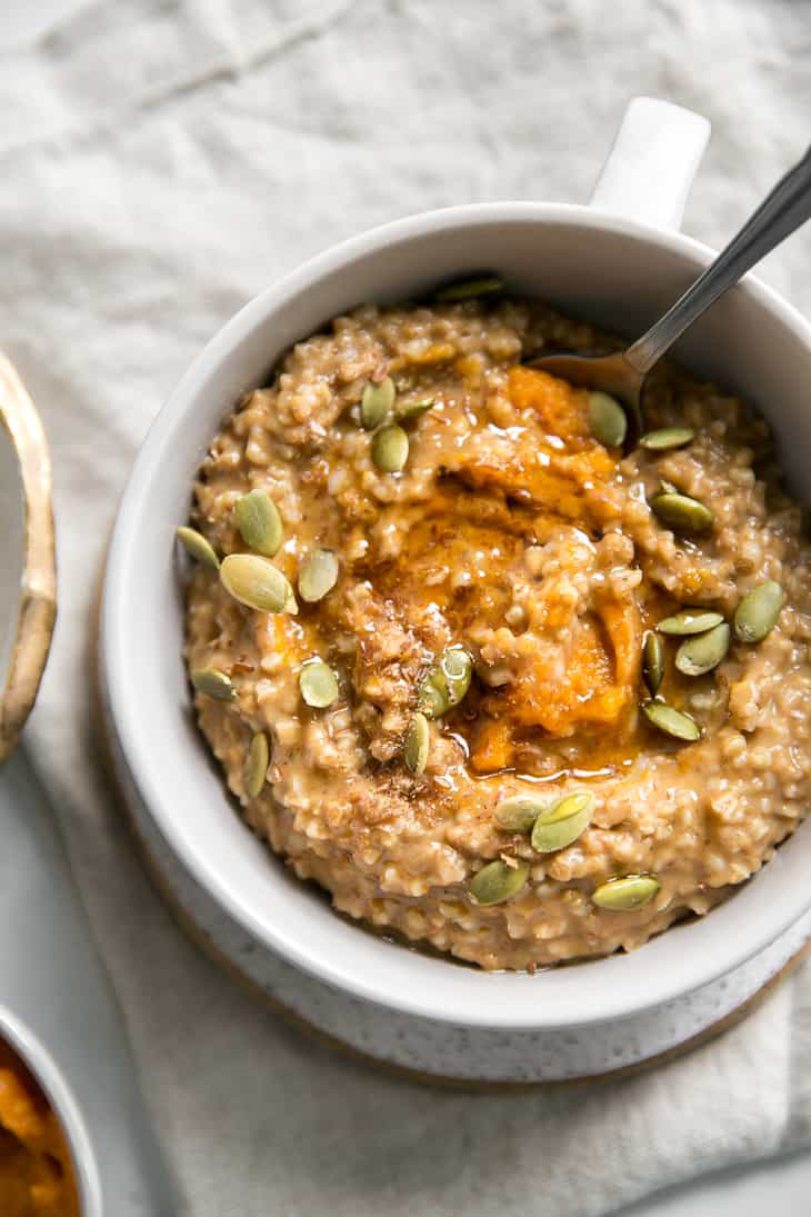 pumpkin and oats with pepitas in bowl