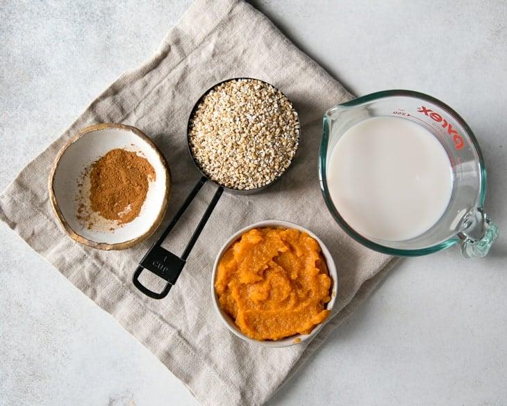pumpkin, steel cut oats, milk and spices