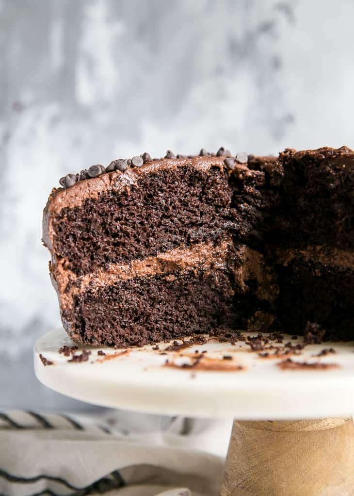 layered chocolate cake with chocolate peanut butter frosting