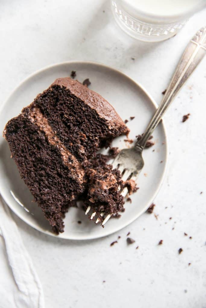 fork on plate cutting into chocolate layer cake