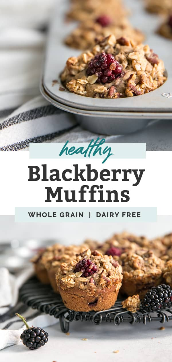 long pinterest image for blackberry muffins
