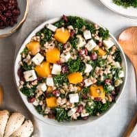 butternut squash kale salad in bowl pinterest
