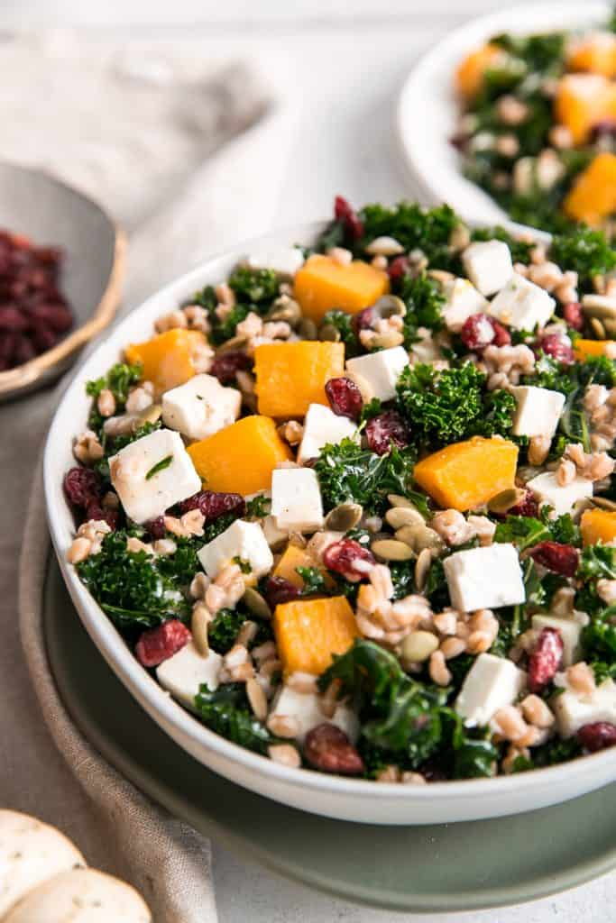 butternut squash, feta and kale salad in bowl
