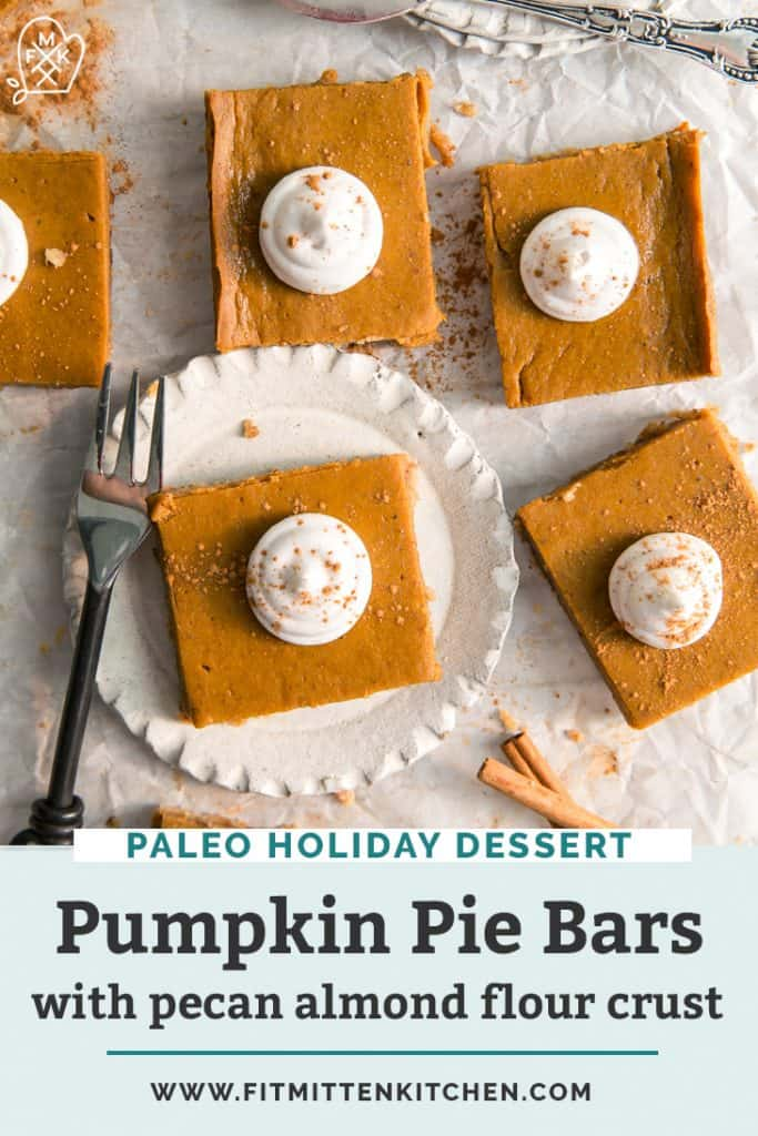 pumpkin pie bars with dollop of whipped cream.