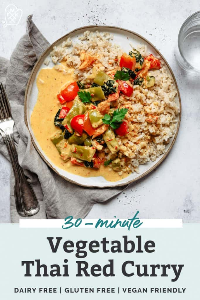 thai red curry vegetable plate