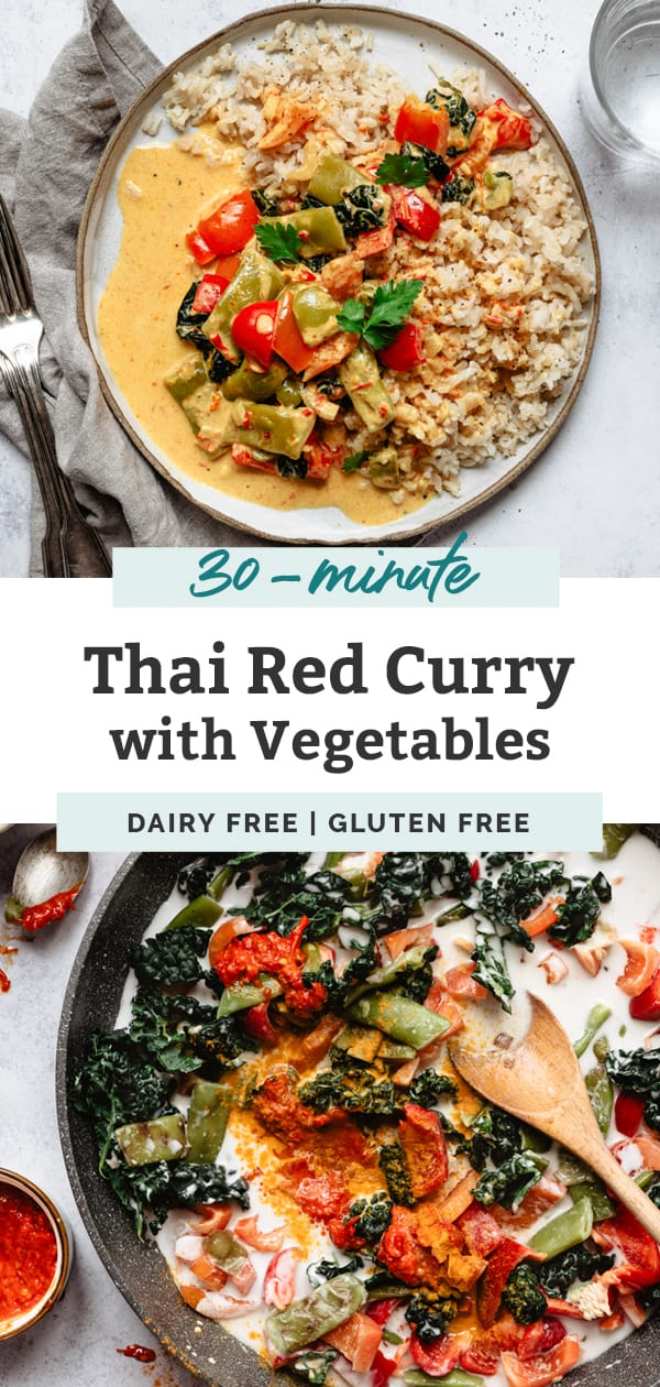 thai red curry vegetable plate and veggies in pan