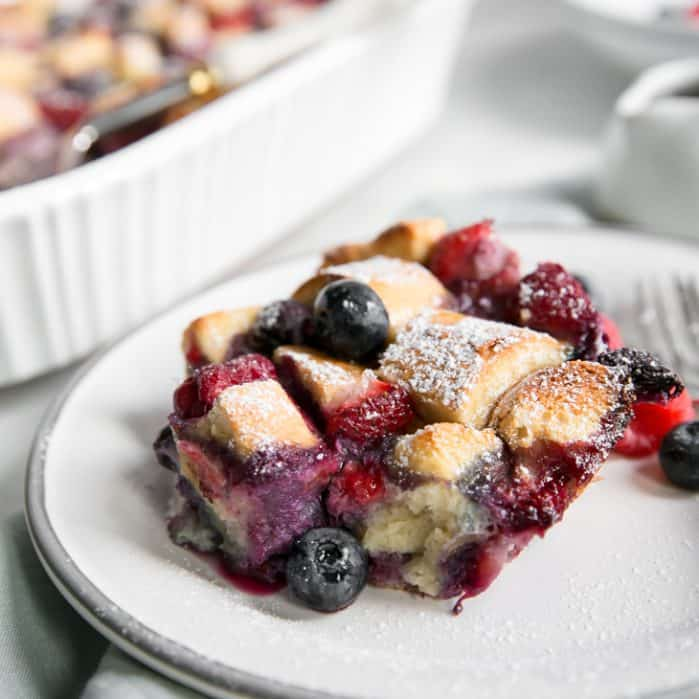 plate of berry french toast casserole
