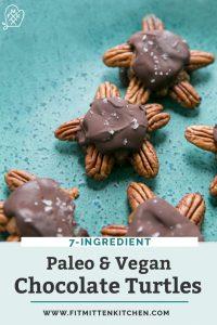 chocolate turtles on turquoise plate