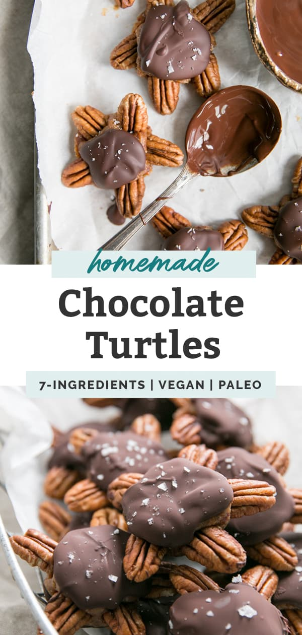 homemade chocolate turtles with pecans
