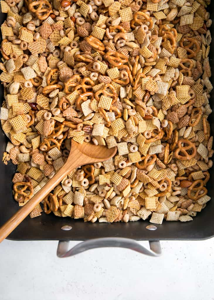 chex mix and spoon in roasting pan