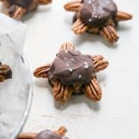 homemade chocolate turtles on white board