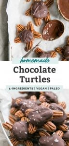 chocolate turtles with pecan clusters