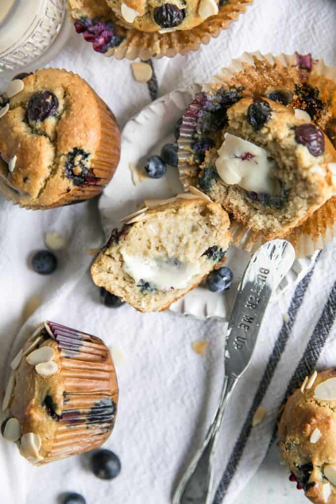 buttered blueberry muffins