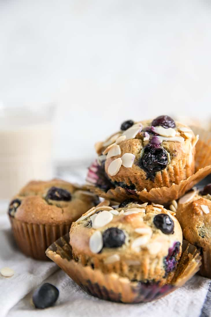 stacked almond flour blueberry muffins