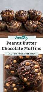 pile of healthy chocolate peanut butter muffins on wooden board