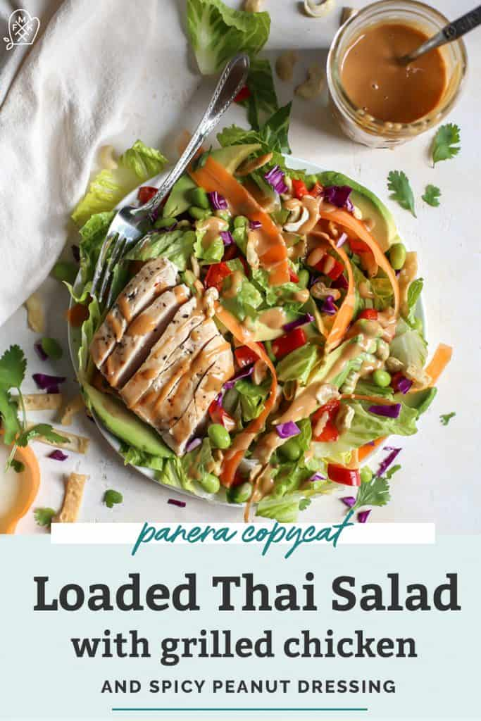 loaded thai salad with grilled chicken on plate with fork
