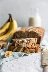 sliced banana bread with milk in background