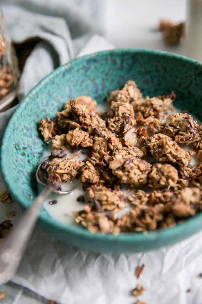 sea salt chocolate chip granola in bowl