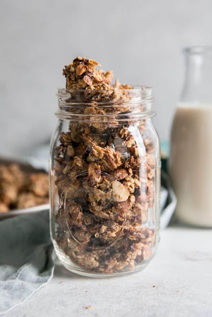 chocolate chip granola in jar