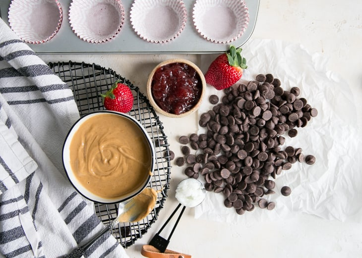 ingredients for peanut butter & jelly cups