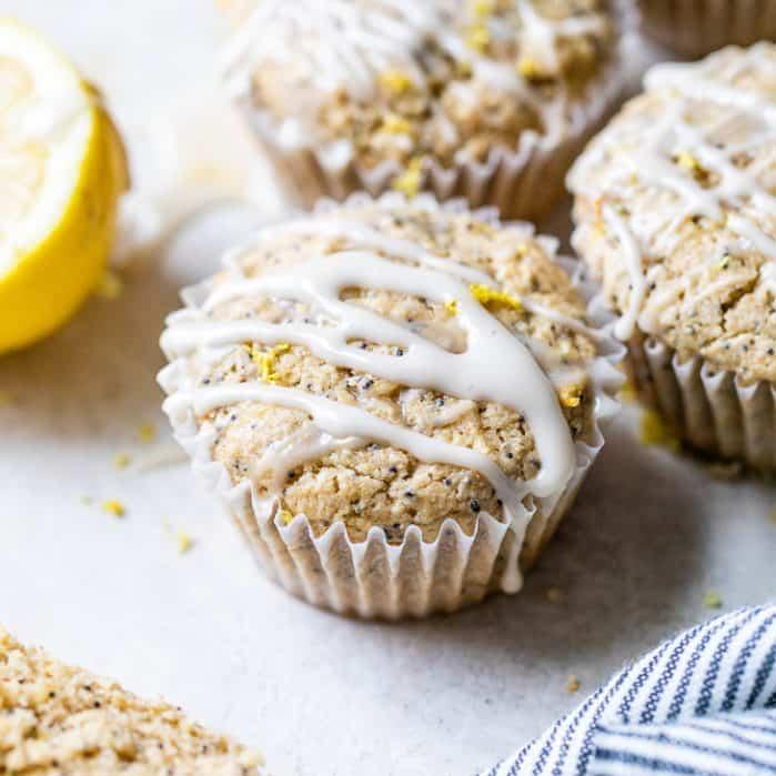 glazed lemon poppy seed muffin