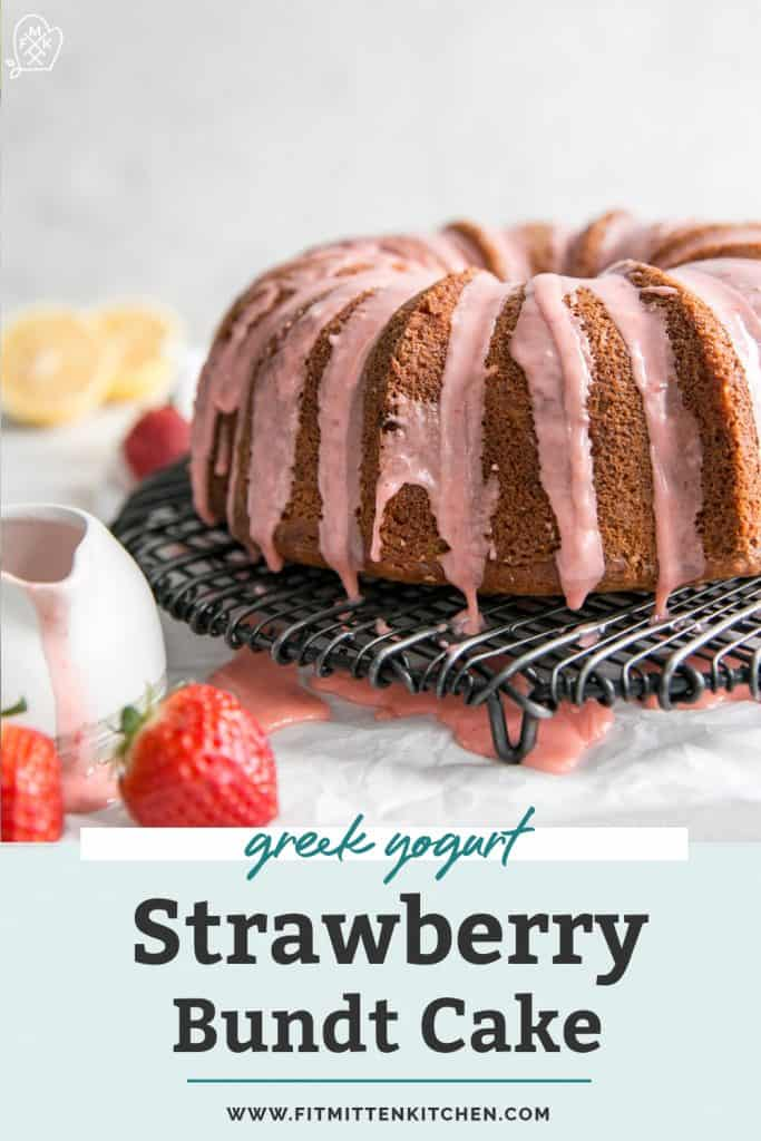 strawberry glaze dripping on bundt cake