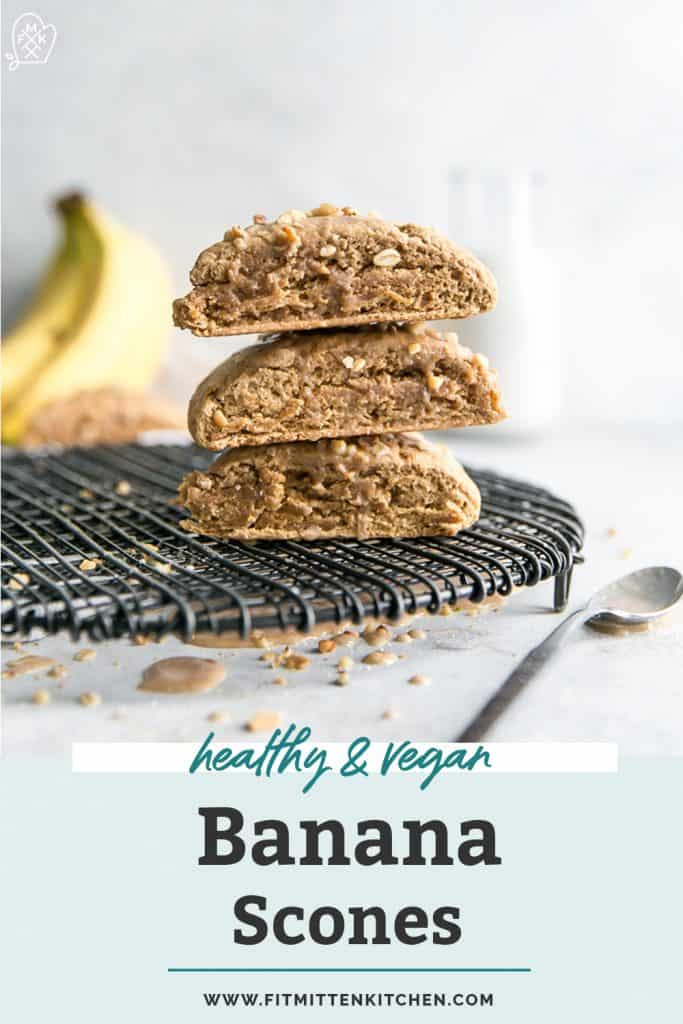 vegan banana scones stacked pinterest
