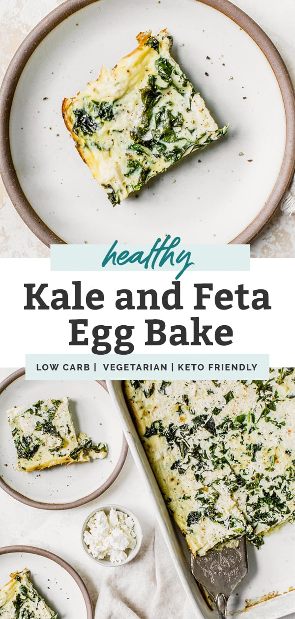 Kale and Feta Egg Bake in white casserole dish pinterest