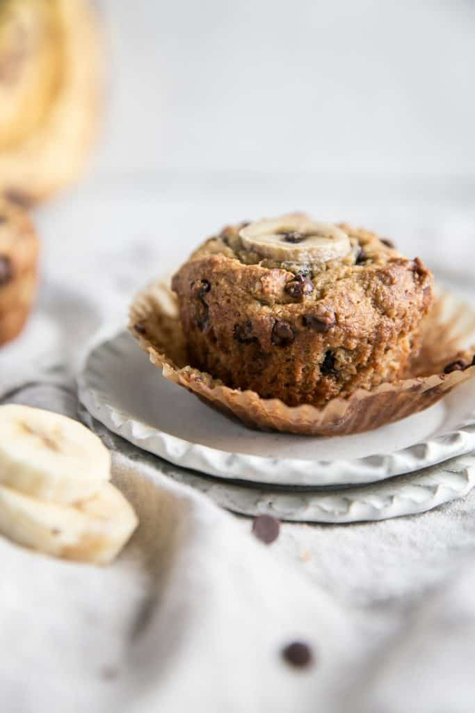 wrapper on banana muffins with chocolate chips