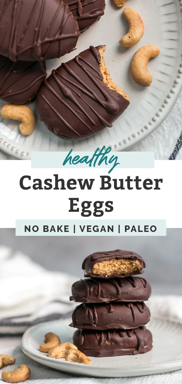 cashew butter eggs stacked on plate with bite taken out pinterest