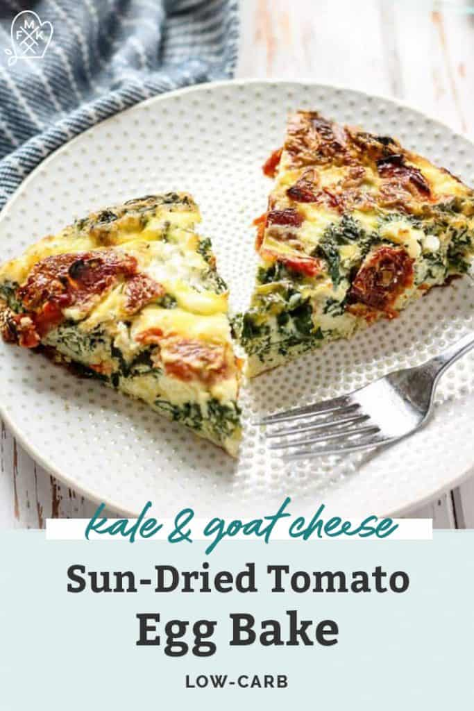 kale goat cheese and sun-dried tomato egg bake on white plate with fork pinterest