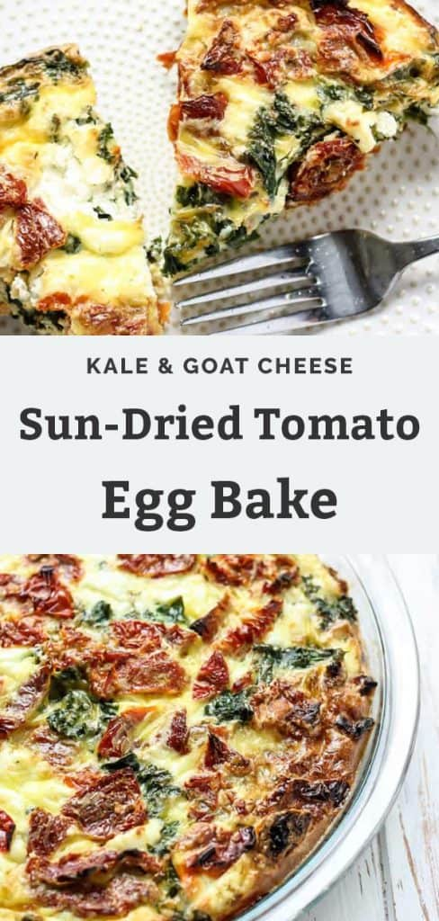 Kale & Goat Cheese Egg Bake with Sun-Dried Tomatoes on white plate with fork pinterest