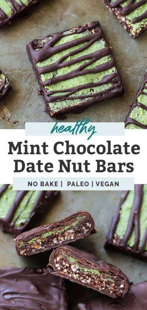 No-Bake Mint Chocolate Date Nut Bars in stack pinterest image