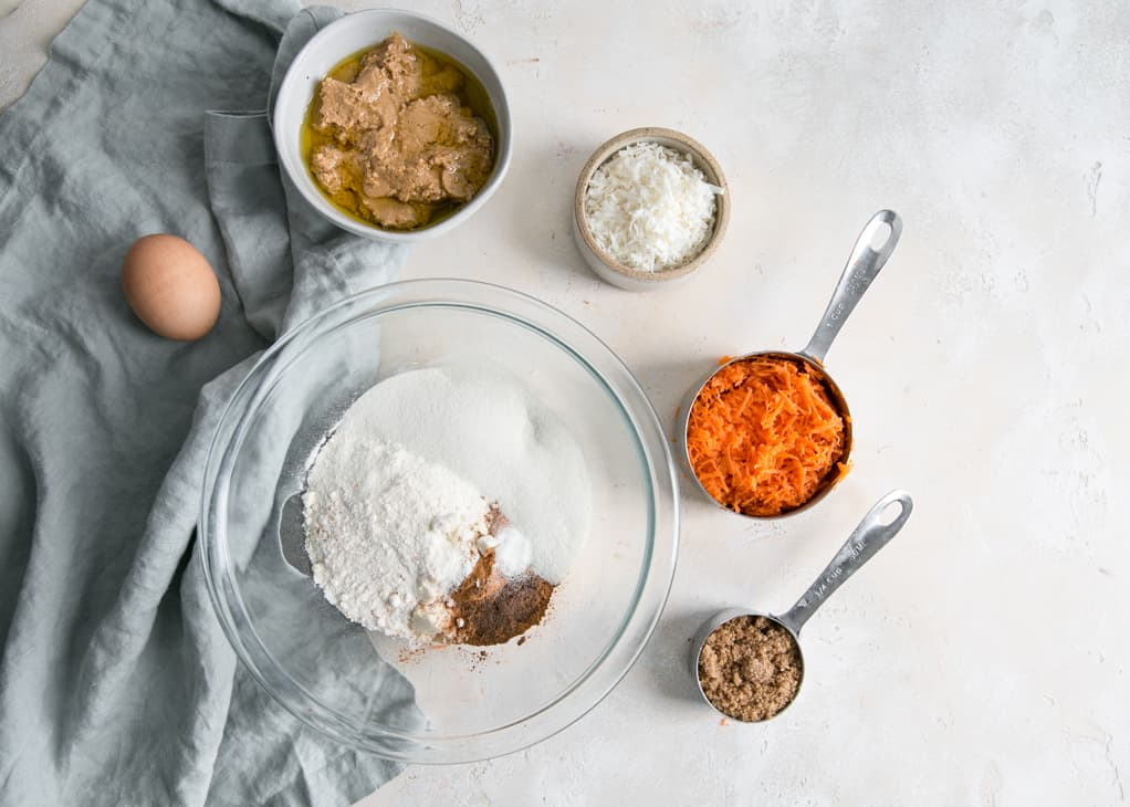 paleo carrot cake breakfast cookies with protein ingredients - carrots egg coconut