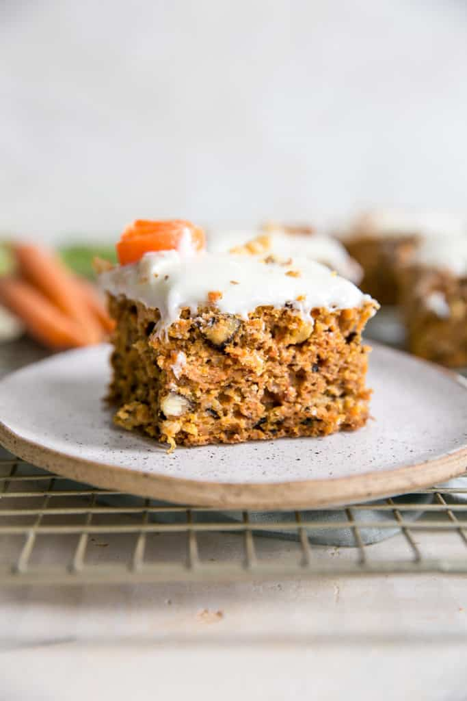 piece of pineapple carrot cake on small plate