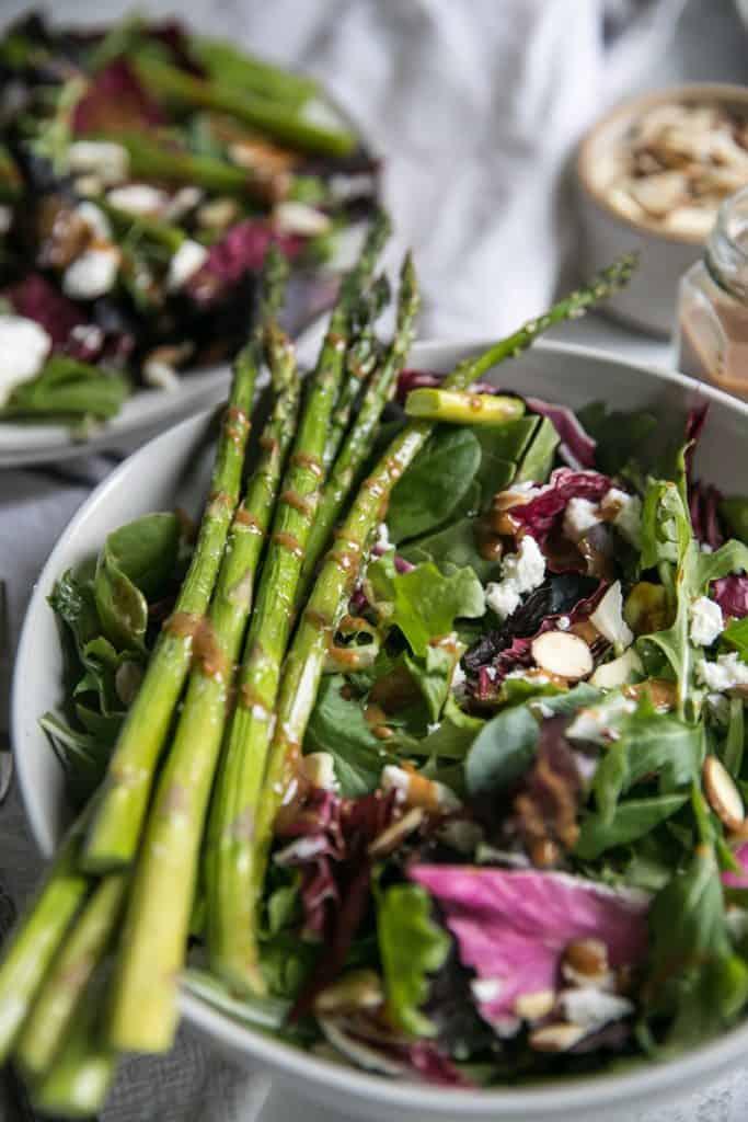 asparagus stalks on salad bowl