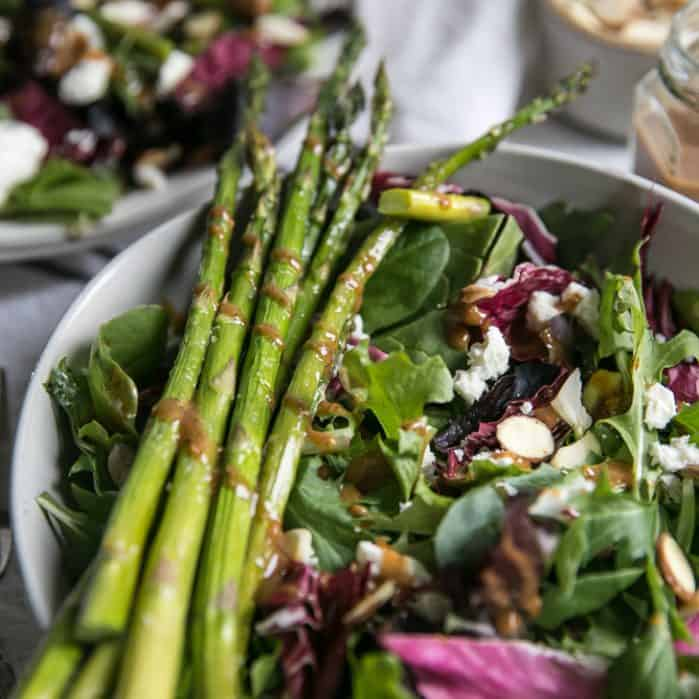 asparagus stalks on salad bowl