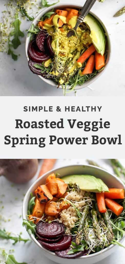 bowl of roasted carrots, sweet potatoes, beets, and asparagus topped with sprouts and avocado for a spring power bowl pinterest