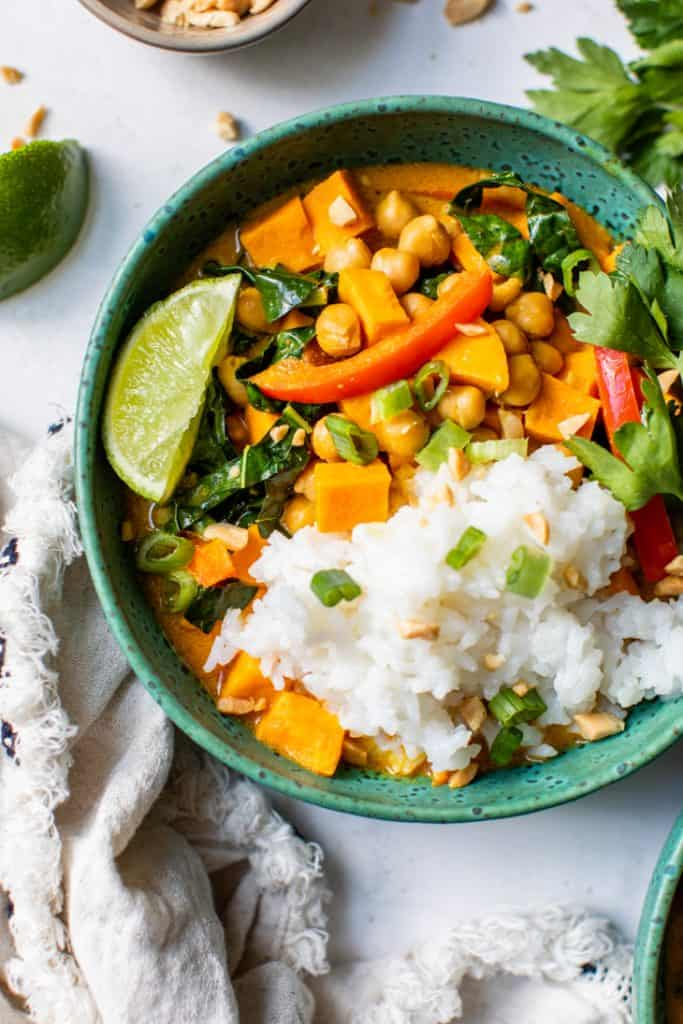 peanut sweet potato chickpea curry in turquoise bowl