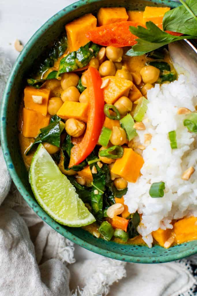 sweet potato curry with rice and chickpeas