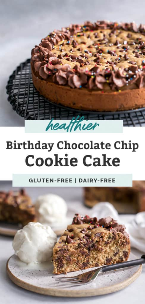 a slice of cookie cake on white plate with vanilla ice cream pinterest