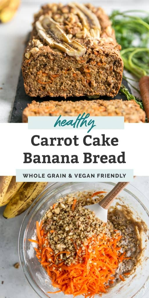 carrot cake banana bread with banana slices baked into top
